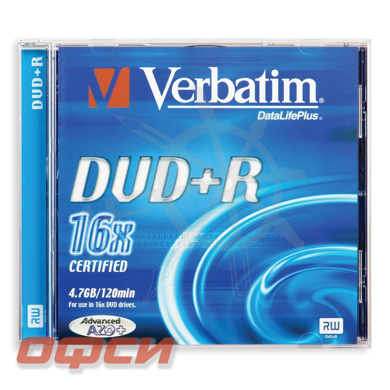 DVD+R Verbatim 4.7Gb 16x, Jewel, 5 шт. в упаковке