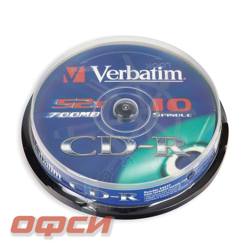 Диск CD-R Verbatim 700 Mb 52x (10 штук в упаковке)