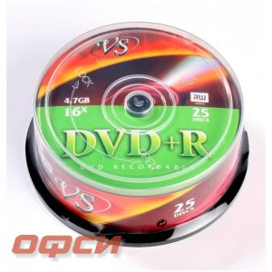 Диск DVD+R VS 4.7 Gb 16x (25 штук в упаковке)