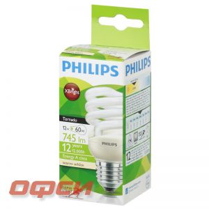 Лампа Philips CLL Tornado mini T2 12W 827 E27 теплый белый